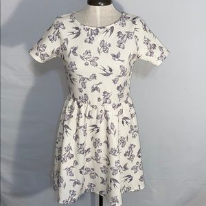 Asos Fit & Flair Skater Dress with Birds & Flowers